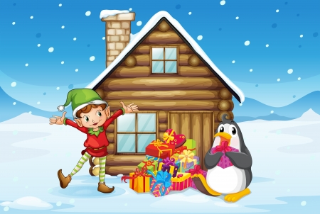 Illustration of a wooden house with an elf and a penguin