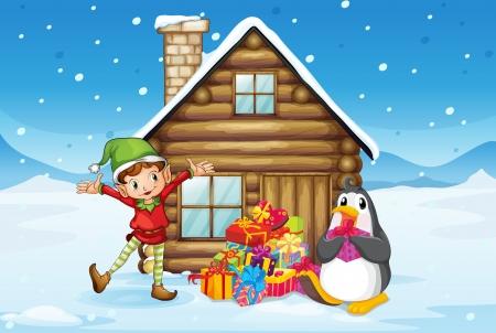 pinguinos navidenos: Ilustración de una casa de madera con un elfo y un pingüino