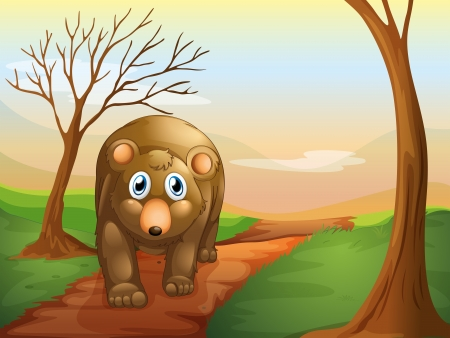 picutre: Illustration of the lonely bear walking
