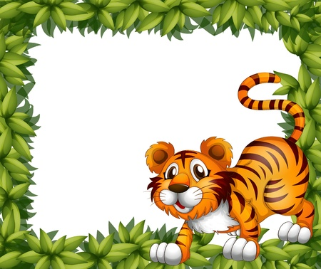 Illustration of a frame with a tiger Vector