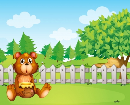 picutre: Illustration of a bear holding a honey at the backyard Illustration