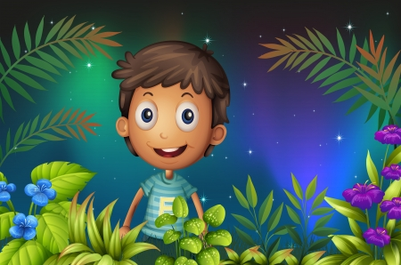 Illustration of a boy smiling  in the garden  Stock Vector - 18158512