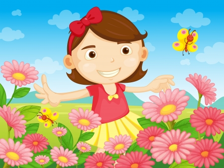 pretty little girl: Illustration of the flowers and the pretty woman