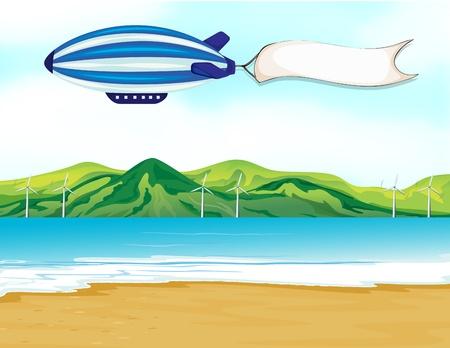 luftschiff: Illustration eines Streifens Luftschiff mit einem weißen Banner Illustration