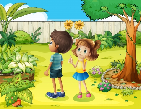 back yard: Illustration of a boy and a girl discussing in the garden
