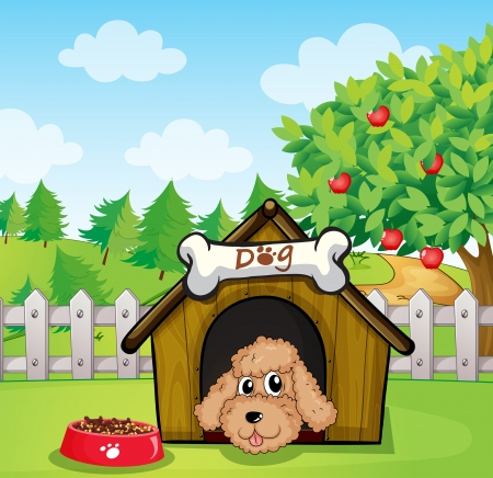 Illustration of a puppy and his dog food Vector