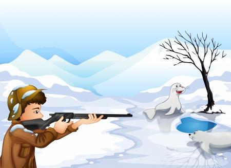 Illustration of a hunter in a snowy season Stock Vector - 18134003