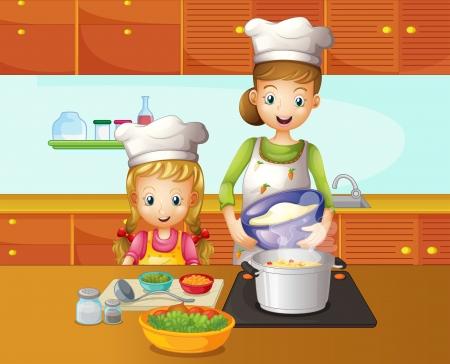 mere cuisine: Illustration d'une m�re et sa fille de cuisine Illustration
