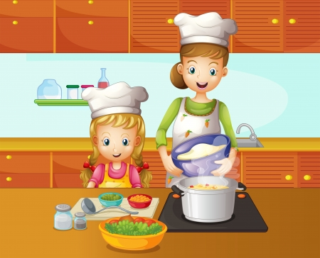 mother cartoon: Illustration of a mother and daughter cooking