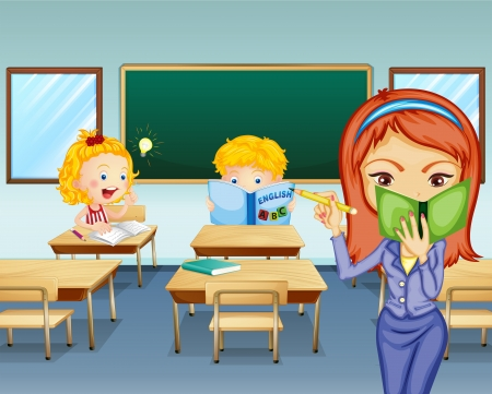 Illustration of the students studying inside the classroom Vector