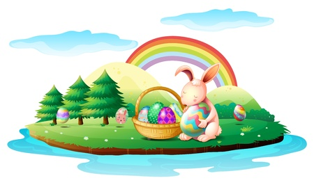Illustration of an island with a bunny and a basket of easter eggs on a white background Stock Vector - 18158447