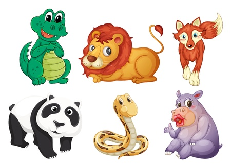 tailed: Illustration of the six different kinds of animals on a white background Illustration