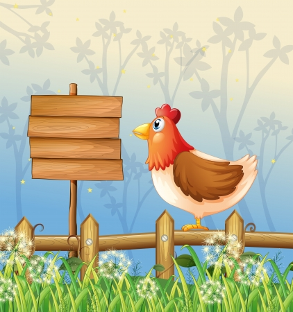 Illustration of a hen above a wooden fence facing a wooden signboard Vector