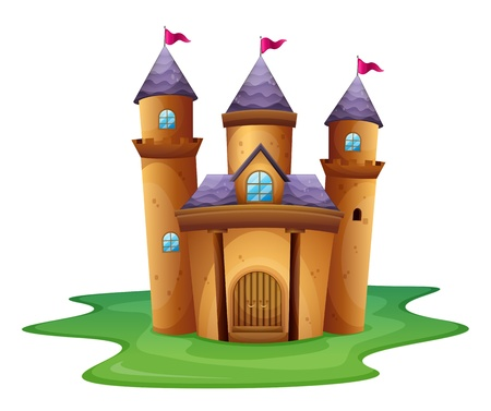 Illustration of a castle with three flags on a white background Vector