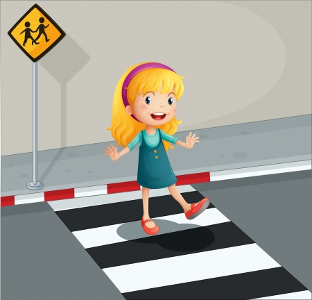 Illustration of a young lady crossing the pedestrian lane Vector