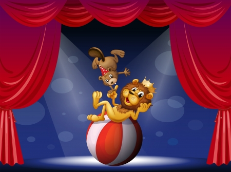 Illustration of a lion and a beaver performing at the stage Stock Vector - 18158511