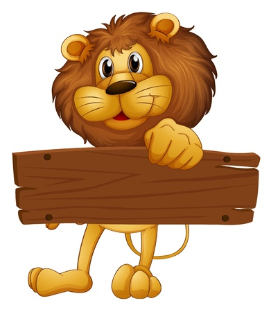 signboard: Illustration of an empty wooden board brought by the lion on a white background
