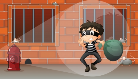 caught: Illustration of a boy in the jail