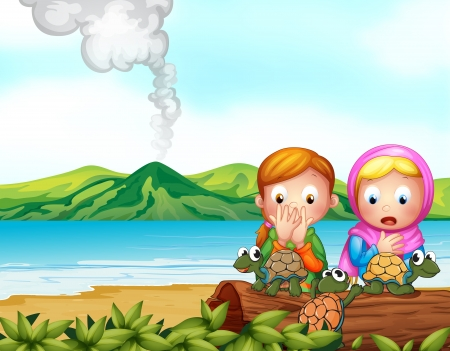 scarf beach: Illustration of the shocked faces of two girls with three turtles