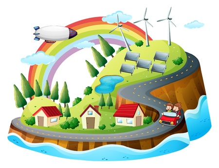 Illustration of a colorful village on a white background Vector