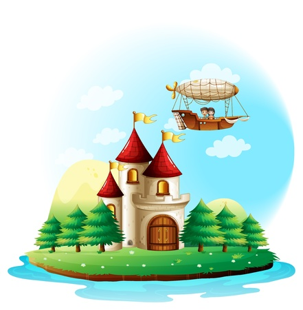 floating island: Illustration of the two kids riding in an aircraft above the castle on a white background Illustration