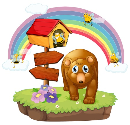 Illustration of a brown bear near the pethouse and the arrow board Vector