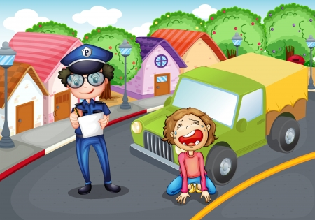 Illustration of the policeman and the crying driver Vector