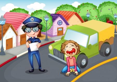 servicios publicos: Ilustraci�n de la polic�a y el conductor llorando
