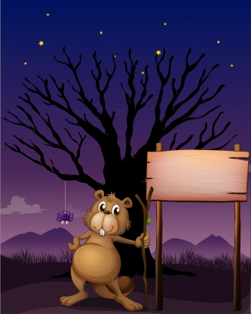 nutria caricatura: Ilustración de un castor al lado de un letrero de madera