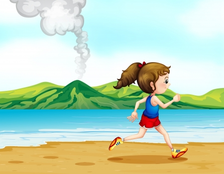 volcano mountain: Illustration of a girl running along the seashore