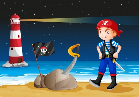 Illustration of a pirate near the lighthouse Vector
