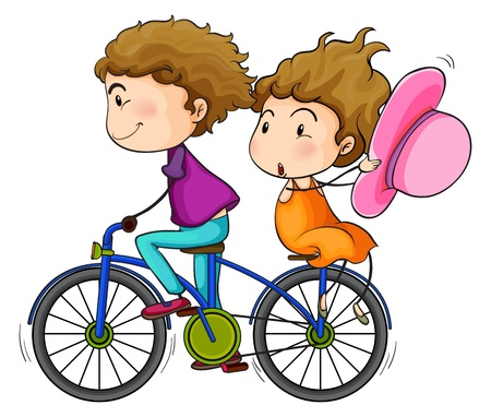 bike riding: Illustration of the lovers riding a bike on a white background