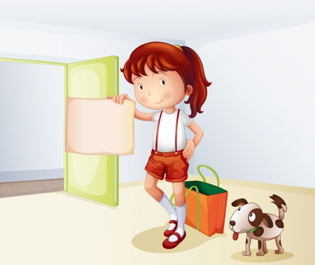 Illustration of a girl holding a blank paper with a bag and a dog  Vector
