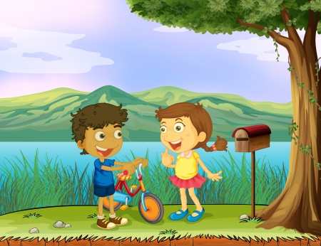 cartoon envelope: Illustration of a young boy holding a bike and a girl near a wooden mailbox