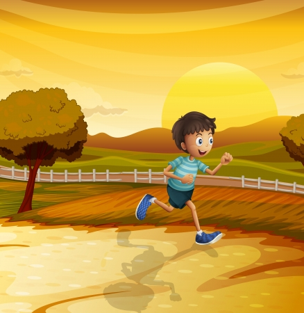 Illustration of a view of the afternoon with a young boy running Vector