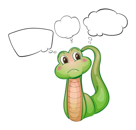 Illustration of a thinking green worm on a white background Stock Vector - 18133857