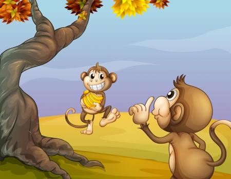 arboles de caricatura: Ilustraci�n de los dos monos junto al gran �rbol