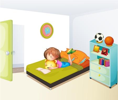 彼女のきれいな寝室で勉強していた少女のイラスト