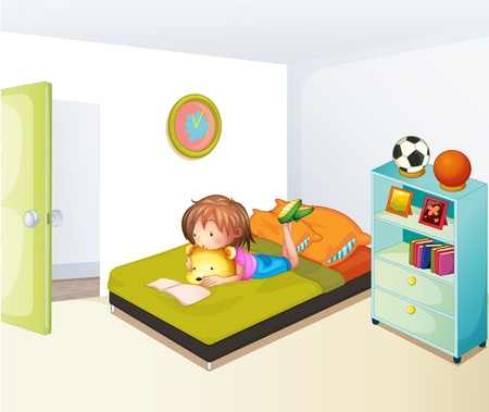 bedroom wall: Illustration of a girl studying in her clean bedroom Illustration