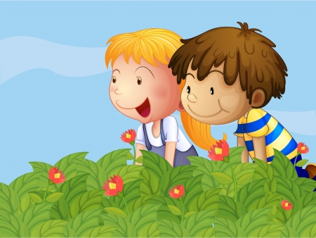cartoon little girl: Illustration of a boy and a girl in the garden Illustration