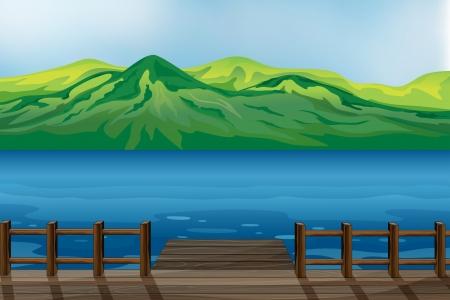 ocean cartoon: Illustration of a blue calm sea