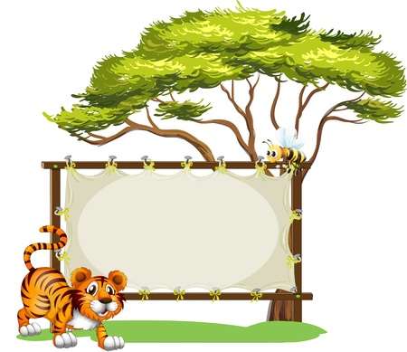 Illustration of a tiger beside the empty signage on a white background Vector