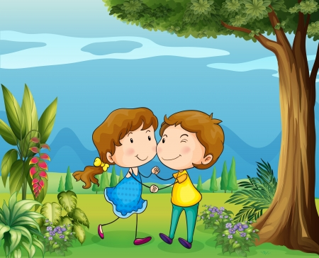 flowers boy: Illustration of a girl and a boy dancing at the park