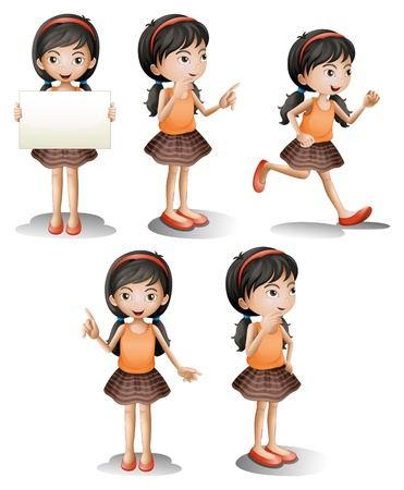 character set: Illustration of the five different positions of a girl on a white background