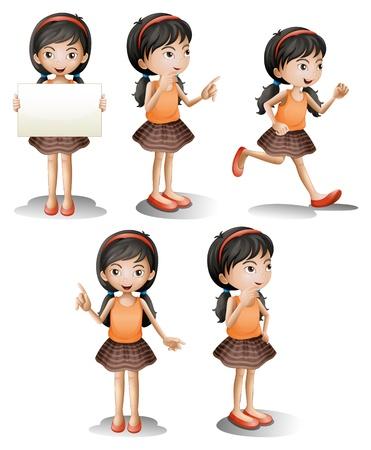 niÑos hablando: Ilustración de las cinco posiciones diferentes de una chica sobre un fondo blanco