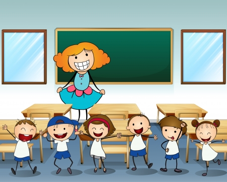 class room: Illustration of a teacher and her students