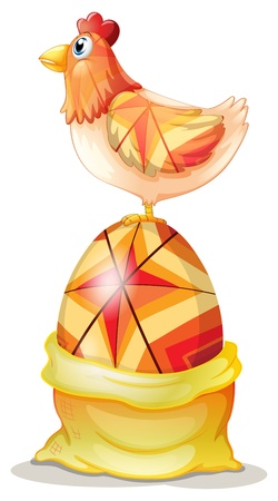 canvass: Illustration of the chicken at the top of a colorful big egg on a white background