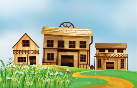 wooden houses: Illustration of the three different styles of wooden houses