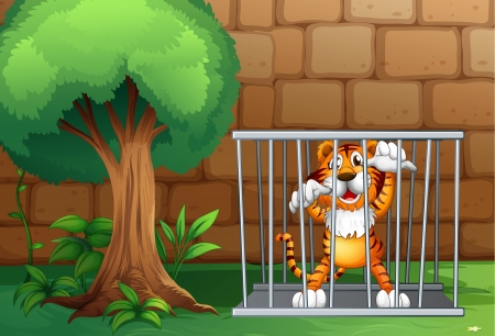 Illustration of a tiger in a cage made of steel Vector