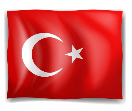 Illustration of the Turkish flag on a white background Illustration